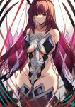 1girl absurdres bangs bare_shoulders black_gloves breasts collarbone covered_navel elbow_gloves fate/grand_order fate_(series) gloves hair_between_eyes highleg highleg_leotard highres large_breasts leotard lilycious long_hair looking_at_viewer purple_hair red_eyes scathach_(fate)_(all) scathach_(fate/grand_order) sideboob thigh-highs thighs