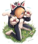 1girl animal_costume animal_ears blonde_hair blue_eyes breasts cat_costume cat_ears crown earrings english_text from_above full_body gonzarez grass hair_over_one_eye highres jewelry kneeling mario_(series) medium_breasts onomatopoeia paw_pose rosalina signature solo super_mario_3d_world