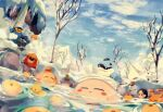 adeleine chilly_(kirby) gooey highres ice_dragon_(kirby) king_dedede kirby kirby_(series) onsen snow suyasuyabi towel tree waddle_dee waddle_doo water waterfall