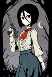 1girl absurdres bangs bare_tree black_eyes black_hair blue_skirt bob_cut buttons center_frills closed_mouth colored_skin contrapposto cowboy_shot crescent_moon english_commentary erica_(naze1940) expressionless frills gun hair_between_eyes handgun high-waist_skirt high_collar highres holding holding_gun holding_weapon long_sleeves moon neckerchief night original outdoors pale_skin pistol puffy_long_sleeves puffy_sleeves red_neckwear shirt short_hair skirt solo standing tree weapon white_shirt white_skin