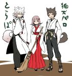 2boys :o alternate_costume animal_ears bangs black_pants bow breasts broom brown_hair closed_mouth clothing_request danganronpa_(series) danganronpa_2:_goodbye_despair full_body grey_hair hair_bow hair_ornament hakama hand_on_hip hand_on_own_chin hand_up highres hinata_hajime holding japanese_clothes komaeda_nagito large_breasts long_sleeves looking_at_viewer medium_hair multiple_boys nanami_chiaki nico_(nico_alice) open_mouth pants pleated_skirt red_bow red_hakama sandals short_hair skirt smile standing tail translation_request upper_teeth white_sleeves wide_sleeves wolf_ears wolf_tail