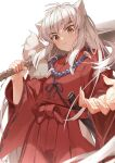 1boy animal_ears bead_necklace beads blush brown_eyes claws closed_mouth eyebrows_visible_through_hair eyes_visible_through_hair fingernails fox_ears highres holding holding_sword holding_weapon inuyasha inuyasha_(character) jewelry long_fingernails long_hair long_sleeves male_focus necklace over_shoulder ryota_(ry_o_ta) scabbard sharp_fingernails sheath signature simple_background solo sword sword_over_shoulder unsheathing weapon weapon_over_shoulder white_background white_hair wide_sleeves