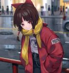1girl alternate_costume bangs black_pants blurry blurry_background bow brown_hair building car city closed_mouth coat contemporary eyebrows_visible_through_hair ground_vehicle hair_bow hair_tubes hakurei_reimu hands_in_pockets highres leaning_forward long_hair looking_at_viewer manhole_cover motor_vehicle night outdoors pants railing red_bow red_coat red_eyes road scarf shirt sidelocks sidewalk smile solo_focus touhou white_shirt yaye yellow_scarf