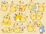 :3 bubble closed_eyes closed_mouth cramorant eyelashes flower food gen_1_pokemon gen_7_pokemon gen_8_pokemon hatted_pokemon heart highres holding holding_hand looking_at_viewer mimikyu musical_note open_mouth pancake pikachu pink_flower pokemon pokemon_(creature) raichu smile sparkle substitute_(pokemon) temariame14 wavy_mouth