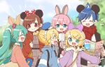 2boys 4girls animal_ears aqua_hair bangs blonde_hair blue_hoodie bow brown_hair commentary disneyland donald_duck_sailor_hat dress hair_bow hair_ornament hairband hairclip hat hatsune_miku hood hoodie jacket kagamine_len kagamine_rin kaito long_hair megurine_luka meiko mickey_mouse_ears minnie_mouse_ears moon_print multiple_boys multiple_girls najo open_mouth pamphlet pink_shirt plaid plaid_dress plaid_scarf purple_bow rabbit_ears red_eyes red_jacket scarf shirt short_hair short_ponytail smile spiky_hair swept_bangs twintails very_long_hair vocaloid wizard_hat