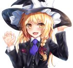 1girl :d alternate_costume ascot bangs black_headwear black_jacket black_vest blonde_hair blue_neckwear bow braid breasts commentary_request eyebrows_visible_through_hair fang formal hair_ribbon hat hat_bow jacket kerotsupii_deisuku kirisame_marisa long_hair looking_at_viewer necktie open_mouth red_ribbon ribbon side_braid simple_background single_braid small_breasts smile solo suit suit_jacket touhou tress_ribbon upper_body v-shaped_eyebrows vest white_background white_bow witch_hat yellow_eyes