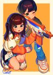 1boy 1girl absurdres aiming black_hair blue_eyes blush_stickers border brown_eyes brown_hair character_request child denim gun headset highres holding holding_gun holding_weapon huge_filesize jeans long_sleeves medium_hair moai_(more_e_4km) mole mole_under_eye name_tag nerf_gun one_eye_closed one_knee orange_background original outside_border pants pleated_skirt product_girl rifle shirt shoes skirt sneakers t-shirt toy_gun twintails weapon white_border