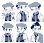 1boy ? blush closed_eyes closed_mouth commentary_request crying eating expression_chart food food_on_face greyscale hat hat_removed headwear_removed holding holding_clothes holding_hat looking_at_viewer lucas_(pokemon) male_focus monochrome multiple_views open_mouth oshi_taberu pokemon pokemon_(game) pokemon_dppt scarf short_hair short_sleeves sweatdrop tears tongue trembling