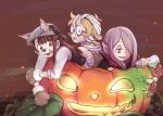 3girls animal_ears bandages blonde_hair brown_hair fangs flask halloween halloween_costume jack-o'-lantern kagari_atsuko little_witch_academia long_hair lotte_jansson multiple_girls mummy_costume mushroom night purple_hair red_eyes short_hair sucy_manbavaran tonton_(mathcaca24) vampire werewolf
