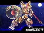 1girl android arm_cannon character_name claws commentary_request commission copyright_name crossover fang full_body haiteku_reibou highres holding holding_staff letterboxed looking_at_viewer mecha_musume mechanical_arms mechanical_ears mechanical_legs mechanization moon moonlight_flower night open_mouth pointing_weapon ragnarok_online red_eyes rockman science_fiction second-party_source skeb_commission skin_fang solo staff weapon