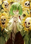 1girl absurdres arm_strap bone breasts commentary covered_mouth covering_mouth cowboy_shot english_commentary field flower flower_field green_hair hair_between_eyes hands_up highres holding holding_umbrella kazami_yuuka large_breasts leaf light_particles long_sleeves looking_at_viewer naufaldreamer overgrown plant red_eyes red_skirt roots shirt short_hair sidelocks skirt skull solo sunflower teeth touhou tsurime two-handed umbrella white_shirt yellow_flower