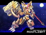 1girl android cannon character_name claws clenched_hand commentary_request commission copyright_name crossover fang full_body haiteku_reibou highres holding holding_staff letterboxed looking_at_viewer mecha_musume mechanical_arms mechanical_ears mechanical_legs mechanization moon moonlight_flower night open_mouth ragnarok_online red_eyes rockman science_fiction second-party_source skeb_commission skin_fang solo staff