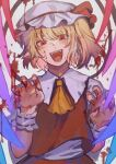 1girl :d ascot bangs blonde_hair blood blood_on_face blush bow breasts claw_pose commentary_request damenaito eyebrows_behind_hair fangs fingernails flandre_scarlet hat hat_bow head_tilt highres looking_at_viewer mob_cap one_side_up open_mouth puffy_short_sleeves puffy_sleeves red_bow red_eyes red_skirt red_vest sharp_fingernails shirt short_hair short_sleeves simple_background skirt skirt_set slit_pupils small_breasts smile solo touhou upper_body vest white_background white_headwear white_shirt wings wrist_cuffs yellow_neckwear
