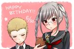 1boy 1girl animal bangs blonde_hair blush border braid closed_eyes commentary_request danganronpa_(series) danganronpa_2:_goodbye_despair dated face flower glasses hamster happy_birthday highres holding holding_animal holding_flower kuzuryuu_fuyuhiko looking_down nico_(nico_alice) open_mouth pekoyama_peko school_uniform short_hair striped_jacket sweatdrop twin_braids twintails upper_body very_short_hair white_border