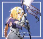 1girl armor armored_dress bangs banner blonde_hair blush braid breasts chain collar commentary_request crying fate/apocrypha fate/grand_order fate_(series) faulds flag gauntlets headpiece highres holding iws2525 jeanne_d'arc_(fate) jeanne_d'arc_(fate)_(all) large_breasts long_hair looking_down metal_collar plackart polearm sad solo tears very_long_hair weapon