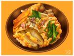 bowl carrot donburi food food_focus hardboiled_egg leaf miwa_nagi mushroom no_humans original rice rice_bowl seaweed simple_background vegetable yellow_background