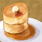 brown_background butter food food_focus nagare750 no_humans original pancake plate simple_background stack_of_pancakes still_life syrup