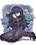 1girl absurdres ahoge bangs black_footwear black_hair commentary_request dress gazacy_(dai) gen_2_pokemon gen_3_pokemon hair_between_eyes hairband hands_together heart hex_maniac_(pokemon) highres interlocked_fingers long_dress long_hair messy_hair misdreavus nail_polish npc_trainer open_mouth pokemon pokemon_(creature) pokemon_(game) pokemon_xy purple_hairband purple_nails shoes shuppet smile spiral_eyes tongue violet_eyes