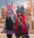 2girls :d animal_ears bag blue_eyes blue_hair body_fur brand_new_animal brown_fur building city cowboy_shot day ev-oo fox_ears fox_girl furry hair_between_eyes highres hiwatashi_nazuna jacket kagemori_michiru long_hair miniskirt multiple_girls open_mouth outdoors pink_hair pink_jacket pink_skirt raccoon_girl railroad_crossing shirt shoulder_bag skirt smile striped striped_shirt teeth thigh-highs track_jacket walking
