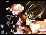 1girl beatrice_(umineko) blonde_hair blurry brown_background bug butterfly dress frilled_sleeves frills from_side hair_up insect insect_wings long_sleeves shizijiadixinyuanhe solo striped umineko_no_naku_koro_ni vertical_stripes visible_ears wings