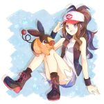 1girl :d antenna_hair baseball_cap black_wristband boots brown_hair commentary_request eyelashes gen_5_pokemon grey_shirt hand_on_headwear hand_up hat highres hilda_(pokemon) looking_at_viewer open_mouth pokemon pokemon_(creature) pokemon_(game) pokemon_bw shirt shorts smile socks starter_pokemon tepig tongue vest wristband yomogi_(black-elf)