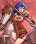 1girl animal armor blue_eyes blue_hair caeda_(fire_emblem) chienon detached_sleeves fire fire_emblem fire_emblem:_shadow_dragon_and_the_blade_of_light gloves highres holding holding_spear holding_weapon horse long_hair miniskirt open_mouth pauldrons pegasus pegasus_knight polearm riding shoulder_armor skirt solo spear weapon