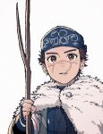 1boy ainu_clothes alternate_costume asirpa asirpa_(cosplay) blush brown_eyes brown_hair cosplay golden_kamuy headband highres kotta_(pesan102) long_sleeves male_focus nose_blush scar scar_on_cheek scar_on_face scar_on_mouth scar_on_nose short_hair simple_background solo spiky_hair stick sugimoto_saichi upper_body white_background wood younger
