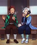 2boys :d belt black_hair blue_pants bright_pupils brown_legwear brown_pants character_request closed_eyes closed_mouth commentary commission cup english_commentary hand_up haori holding holding_cup japanese_clothes kamado_tanjirou kimetsu_no_yaiba lavelis multicolored_hair multiple_boys open_mouth pants puffy_pants redhead sandals scarf smile tabi teapot two-tone_hair white_hair white_legwear white_pupils yellow_scarf