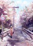 1girl bag black_hair bridge enokitake handbag japanese_clothes kimono original outdoors road road_sign scenery short_hair sign snow solo standing street tree utility_pole winter yukata