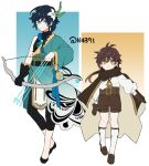 2boys arrow_(projectile) bangs belt black_hair blue_hair bow_(weapon) braid brown_hair cape child closed_mouth earrings eyebrows_visible_through_hair flower genshin_impact gloves gradient_hair green_eyes hair_between_eyes hair_flower hair_ornament holding holding_bow_(weapon) holding_weapon jewelry leaf long_hair long_sleeves looking_at_viewer male_focus multicolored_hair multiple_boys n4391 otoko_no_ko ponytail scarf shorts simple_background single_braid single_earring smile tassel tassel_earrings venti_(genshin_impact) vision_(genshin_impact) weapon white_background yellow_eyes younger zhongli_(genshin_impact)
