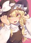 1girl bangs black_headwear black_vest blonde_hair blush bow braid commentary_request hair_bow hands_on_headwear hands_up hat hat_bow kirisame_marisa long_hair long_sleeves looking_at_viewer open_mouth pink_background shirt simple_background single_braid solo tomobe_kinuko touhou upper_body vest white_bow white_shirt witch_hat yellow_eyes