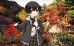 1girl :d absurdres autumn autumn_leaves black_hair dress highres huge_filesize jacket mountain nature open_mouth original outdoors plaid plaid_dress short_hair sleeves_past_wrists smile solo tree watch watch zinbei