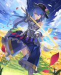 1girl armor bangs bare_shoulders black_headwear blue_hair blue_skirt blue_sky clouds day eyebrows_visible_through_hair faulds food frilled_skirt frills fruit gauntlets hair_between_eyes hat hat_removed headwear_removed highres hinanawi_tenshi holding holding_sword holding_weapon long_hair long_skirt looking_at_viewer open_mouth outdoors peach petals rainbow_order red_eyes rin_falcon skirt sky smile sword touhou very_long_hair weapon wind