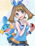 1girl bangs blue_hairband blue_shirt blush bow_hairband bracelet brown_hair collarbone commentary_request eyelashes fanny_pack gen_3_pokemon grey_eyes hairband hands_up head_tilt highres holding holding_poke_ball jewelry may_(pokemon) mudkip open_mouth poke_ball poke_ball_(basic) pokemon pokemon_(creature) pokemon_(game) pokemon_masters_ex setta_shu shirt sleeveless sleeveless_shirt smile starter_pokemon teeth tongue w