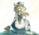 1girl absurdres apron black_bow black_dress blonde_hair bow braid broom dress feet_out_of_frame frilled_apron frills hair_bow hat hat_bow highres in_water kirisame_marisa lamp lily_pad long_hair looking_to_the_side neruzou puffy_short_sleeves puffy_sleeves short_sleeves side_braid single_braid solo teeth touhou waist_apron water white_apron white_background white_bow witch_hat wrist_cuffs yellow_eyes