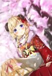1girl ahoge animal_ears blonde_hair blue_eyes blush bow braid cherry_blossoms closed_mouth eyebrows_visible_through_hair feet_out_of_frame floral_print flower fur_scarf furisode hair_bow hair_flower hair_ornament hakama highres hololive horns japanese_clothes kanzashi kimono long_hair obi obiage obijime petals porontyo_07 red_kimono sash sheep_ears sheep_girl sheep_horns sitting smile solo spring_(season) tsunomaki_watame twin_braids violet_eyes virtual_youtuber
