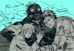 1girl 2boys agroshka blush dorohedoro drooling gas_mask hand_on_another's_chest jacket kaiman_(dorohedoro) looking_up multiple_boys multiple_monochrome muscular muscular_male nikaidou_(dorohedoro) open_mouth pectoral_pillow risu_(dorohedoro) sandwiched short_hair sleeping sleeping_on_person spikes