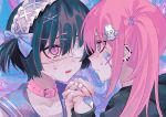 2girls bandaid bandaid_on_face bandaid_on_hand black_hair black_hoodie blue_eyes blue_ribbon blush bunny_hair_ornament collar crying crying_with_eyes_open ear_piercing eyepatch fang fingernails hair_ornament hairband hairclip highres holding_hands hood hoodie lace lolita_hairband long_hair looking_at_another mole mole_under_eye multiple_girls original piercing pink_collar pink_eyes pink_hair ribbon sailor_collar short_hair symbol-shaped_pupils tears twintails x_x02