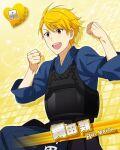 blonde_hair character_name dress idolmaster idolmaster_side-m maita_rui red_eyes short_hair smile yukata