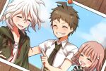1girl 2boys :d ahoge bangs blush brown_hair closed_eyes collared_shirt commentary_request danganronpa_(series) danganronpa_2:_goodbye_despair facing_viewer gloves grey_hair grin hair_ornament hairclip happy highres hinata_hajime hood hoodie komaeda_nagito multiple_boys nanami_chiaki necktie nico_(nico_alice) open_mouth photo_(object) pink_hair pointing_at_another print_shirt shirt short_hair short_sleeves smile upper_body upper_teeth white_hair