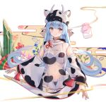 1girl animal_ears animal_print bamboo bangs black_panties blue_nails bra cow_ears cow_hat cow_print detached_sleeves granblue_fantasy highleg highleg_panties highres leaf_(leaves) long_hair long_sleeves milk panties see-through shatola_(granblue_fantasy) short_shorts shorts solo underwear white_bra white_shorts