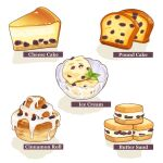 bowl cake cake_slice cheesecake cinnamon_roll double_scoop english_text food food_focus fruit highres ice_cream leaf no_humans okaka516 original pound_cake raisin_(fruit) sandwich simple_background still_life sweets white_background