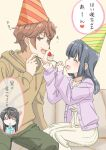 1boy 2girls :d ^_^ azusagawa_sakuta birthday black_hair brown_hair brown_hoodie bunny_hair_ornament cake cardigan casual closed_eyes commentary_request feeding food green_pants hair_ornament hairclip hood hoodie jitome long_hair makinohara_shouko multiple_girls open_mouth orie pants purple_cardigan sakurajima_mai seishun_buta_yarou sitting skirt smile sweatdrop translation_request white_skirt