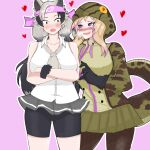 2girls absurdres african_rock_python_(kemono_friends) ahoge animal_ears aroused bare_arms bare_shoulders bear_ears bear_girl bike_shorts black_hair blonde_hair blush breath collarbone collared_shirt commentary crossed_arms drawstring english_commentary expressive_clothes extra_ears ezo_brown_bear_(kemono_friends) furrowed_eyebrows gloves grey_hair hand_up headband heart heart-shaped_pupils highres hood hood_up hooded_jacket jacket kemono_friends long_hair long_sleeves looking_at_another microskirt multicolored_hair multiple_girls nanoder necktie nose_blush open_mouth panties pink_background purple_hair shirt shorts shorts_under_skirt side-by-side simple_background skirt sleeveless sleeveless_shirt smile snake_tail symbol-shaped_pupils tail twintails two-tone_hair underwear very_long_hair violet_eyes wide-eyed wing_collar yuri zipper