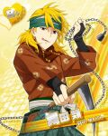 blonde_hair character_name idolmaster idolmaster_side-m maita_rui red_eyes short_hair sickle smile warrior