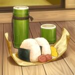 bamboo food food_focus leaf meat no_humans nori_(seaweed) okaka516 onigiri original rice seaweed still_life wooden_floor