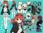 1girl absurdres aq_arium bangs belt black_jacket blue_eyes blue_hair breasts character_sheet color_guide colored_inner_hair cropped_jacket earrings full_body goggles goggles_on_head hair_between_eyes hair_tie highres hood hood_down hooded_jacket jacket jewelry kazenoko long_hair long_sleeves multicolored_hair multiple_views necklace open_clothes open_jacket orange_hair ponytail puffy_sleeves shoes shorts tadase_kairi two-tone_hair underwear virtual_youtuber whale_ornament