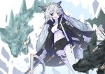 1girl :d absurdres animal_ear_fluff animal_ears arknights bangs black_jacket black_shorts breasts commentary_request dual_wielding eyebrows_visible_through_hair fire green_eyes grey_hair hair_ornament hairclip highres holding holding_sword holding_weapon ichi jacket lappland_(arknights) long_hair long_sleeves looking_at_viewer medium_breasts monster navel open_clothes open_jacket open_mouth scar scar_across_eye short_shorts shorts sketch smile solo standing sword very_long_hair weapon white_background wide_sleeves