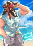 1boy absurdres beard blue_shirt blue_sky blurry blurry_background brown_eyes brown_horns day draph facial_hair glasses granblue_fantasy grey_pants hair_ornament hand_up hawaiian_shirt headband highres horns kuma_(shungong) looking_at_viewer male_focus multicolored_hair muscular mustache one_eye_closed open_mouth outdoors pants red_headband redluck shirt sky solo two-tone_hair