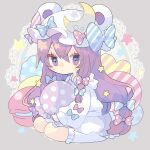 1girl adapted_costume animal_ears bangs blue_bow blush bobby_socks bow chibi commentary crescent crescent_moon_pin doily fake_animal_ears food full_body grey_background hair_bow hat hat_bow heart holding long_hair long_sleeves macaron mob_cap nikorashi-ka patchouli_knowledge polka_dot polka_dot_bow purple_hair red_bow shirt simple_background sitting skirt socks solo star_(symbol) striped striped_bow touhou very_long_hair violet_eyes